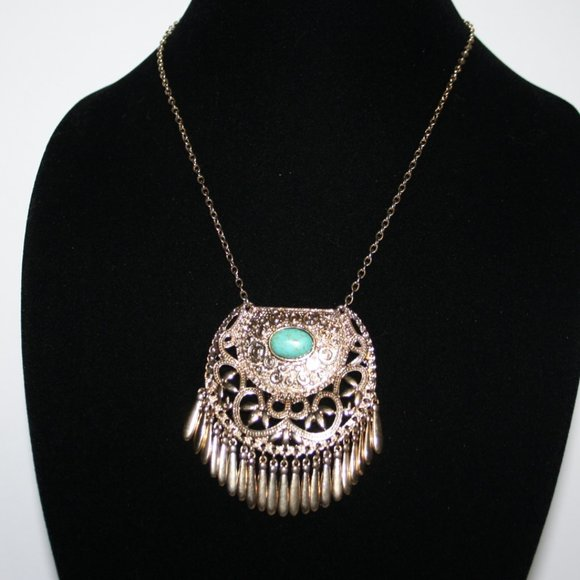Beautiful gold and turquoise long necklace